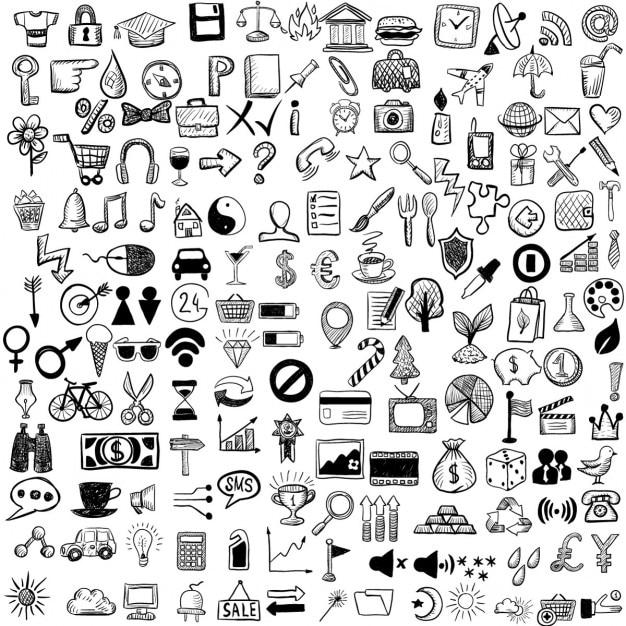 Jogo de ícones do esboço Vetor grátis