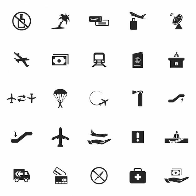 Jogo de ícones pretos do aeroporto Vetor grátis