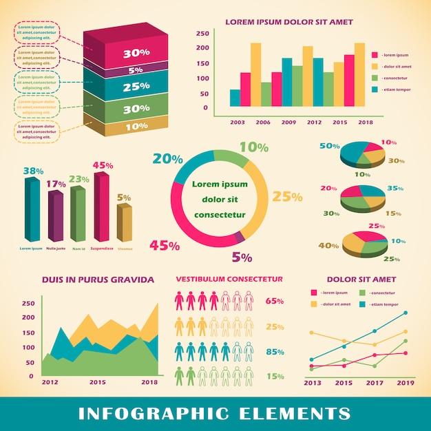 Jogo, de, infographics, elementos Vetor grátis