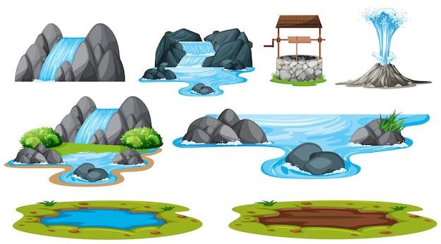 Jogo, de, isolado, água, elemento Vetor grátis
