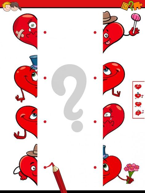 Jogo de jogo metades de corações jogo Vetor Premium