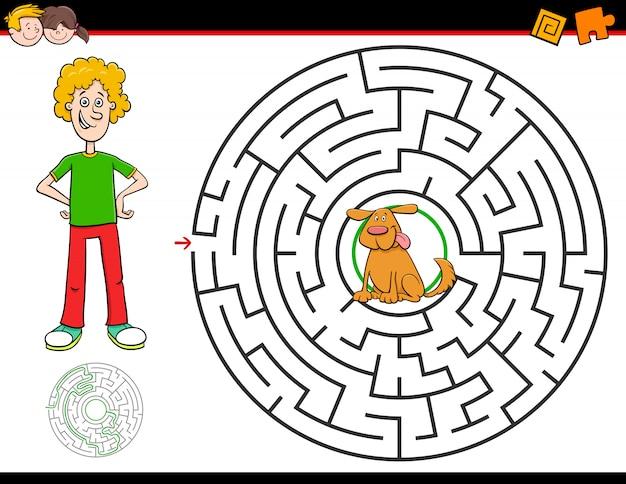 Jogo de labirinto dos desenhos animados com menino e cachorro Vetor Premium