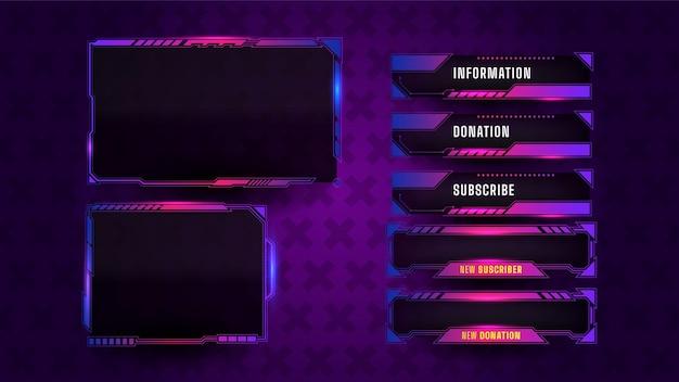Jogo de layout de painel de streaming Vetor grátis
