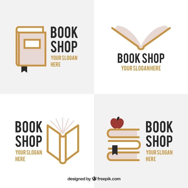 Jogo de logotipos da livraria Vetor Premium