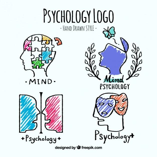 Jogo de logotipos de psicologia no estilo desenhado mão Vetor grátis