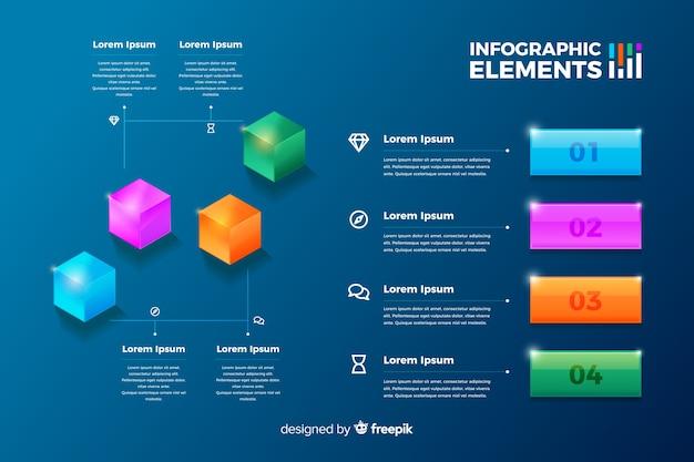 Jogo, de, lustroso, infographic, elementos Vetor grátis