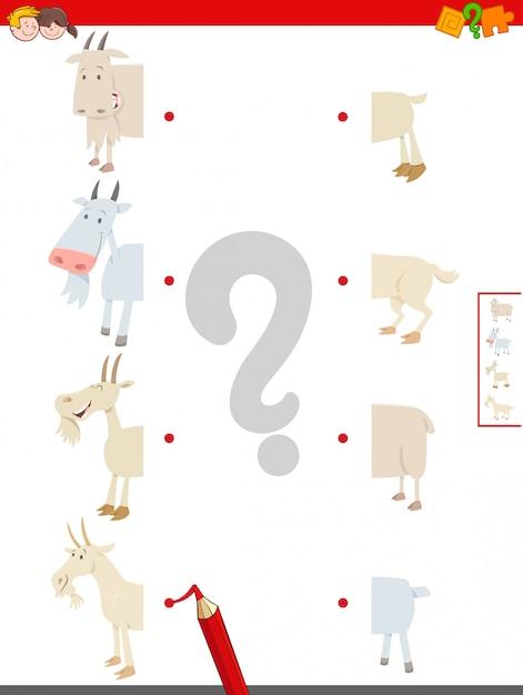 Jogo de metades matching of goats farm animals Vetor Premium