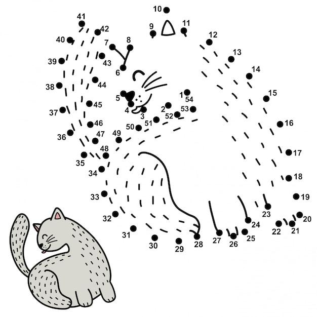 Jogo de números para crianças. ligue os pontos e desenhe um gato engraçado lambendo as costas. Vetor Premium