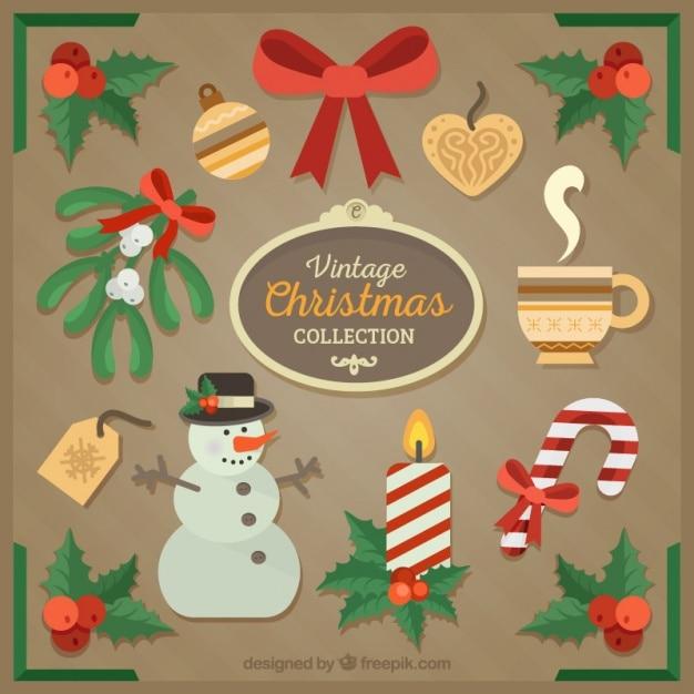 jogo de objetos decorativos do vintage para o natal On objetos decorativos vintage