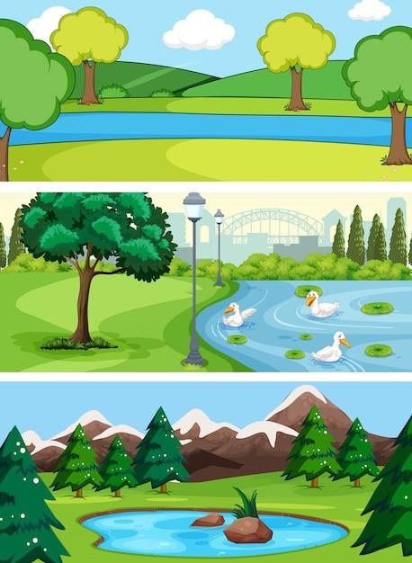 Jogo, de, paisagem água Vetor Premium