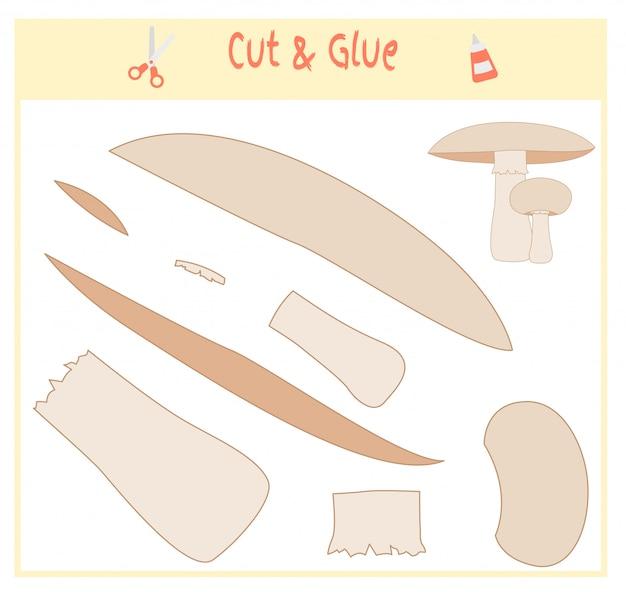 Jogo de papel educativo para o desenvolvimento de crianças em idade pré-escolar. corte partes da imagem e cole no papel. ilustração vetorial Vetor Premium