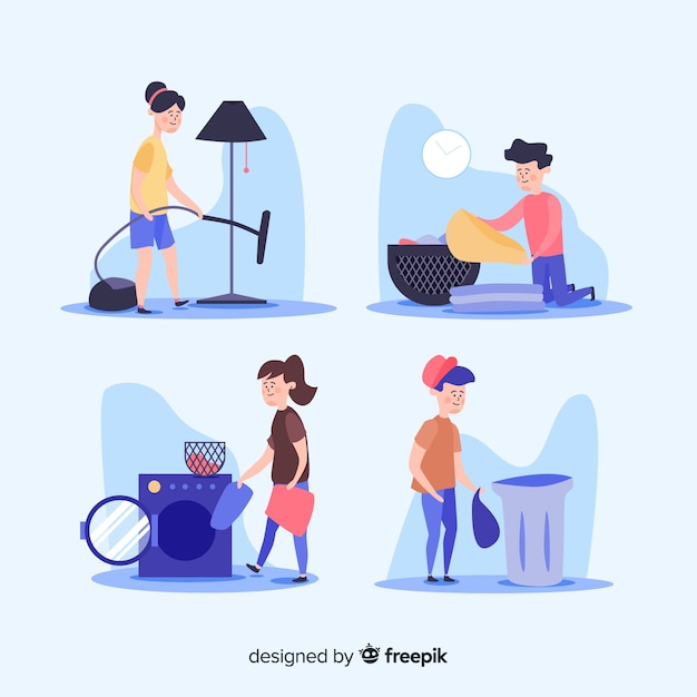 Jogo, de, pessoas, fazendo, housework Vetor grátis