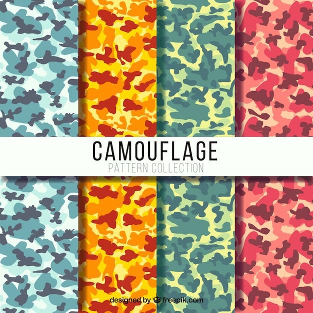 Jogo de quatro testes padrões coloridos camuflagem Vetor grátis