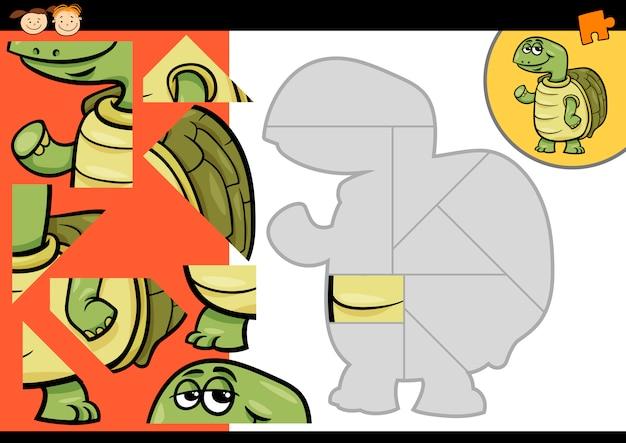 Jogo De Quebra Cabeca De Tartaruga De Desenhos Animados Vetor