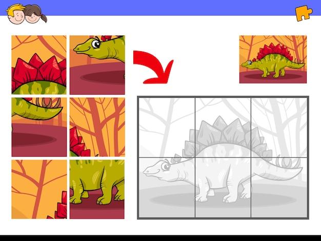 Jogo De Quebra Cabeca Educativo Com Carater De Dinossauro Vetor
