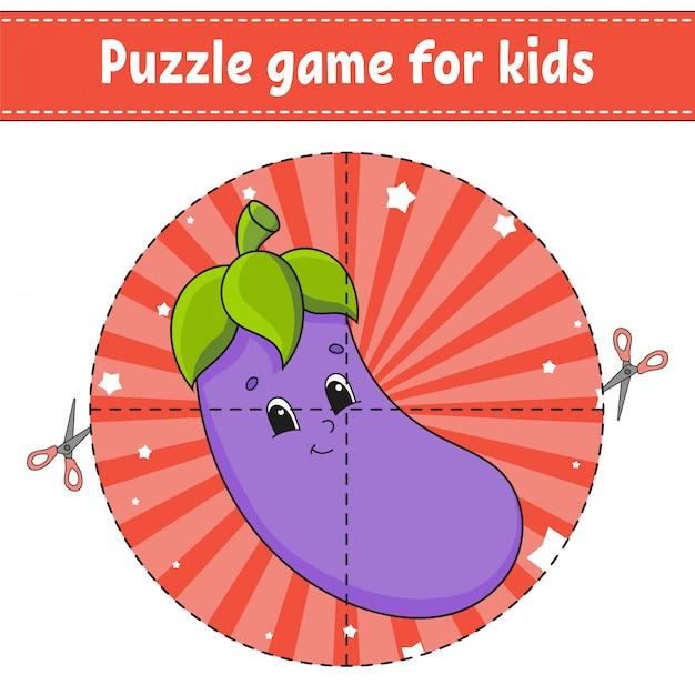 Jogo de quebra-cabeça para crianças. Vetor Premium