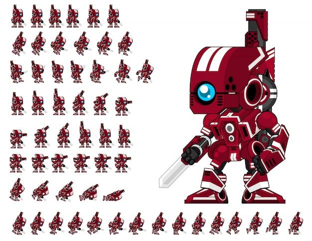 Jogo de robô vermelho sprite Vetor Premium