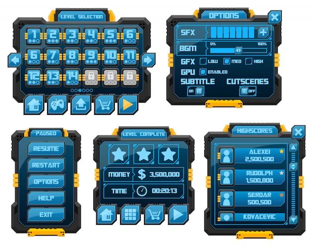 Jogo de robôs gui Vetor Premium