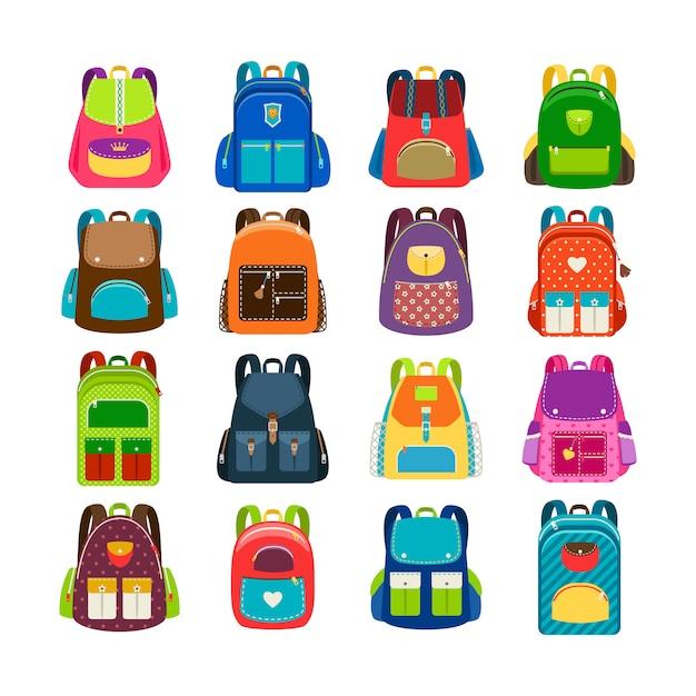 Jogo de schoolbag das crianças isolado. crianças coloridas mochilas de desenhos animados para ilustração vetorial de estudo de escola Vetor Premium