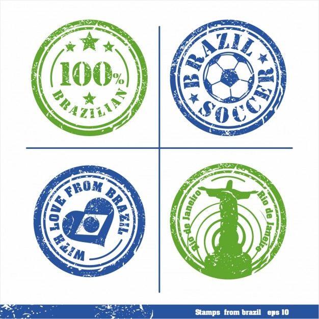 Jogo de selos de elementos brasil vetor para sua projeta Vetor grátis