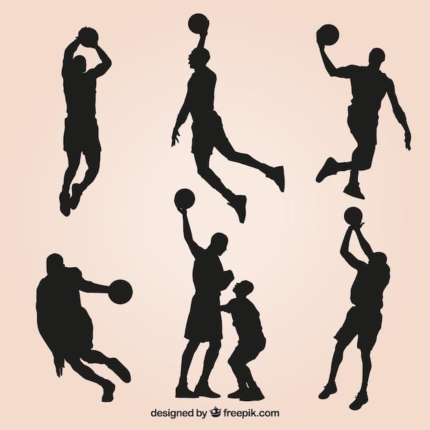 Jogo de silhuetas e jogadores de basquete Vetor grátis