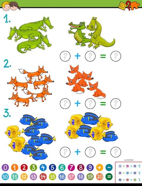 Jogo de subtração matemática para crianças com animais Vetor Premium