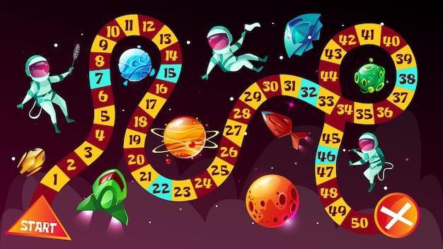Jogo de tabuleiro. astronautas no modelo de desenho animado de estratégia do boardgame espaço Vetor grátis