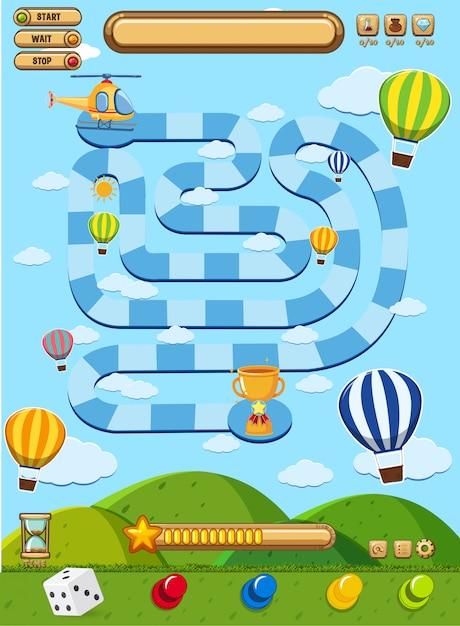 Jogo de tabuleiro com balões no céu azul Vetor Premium