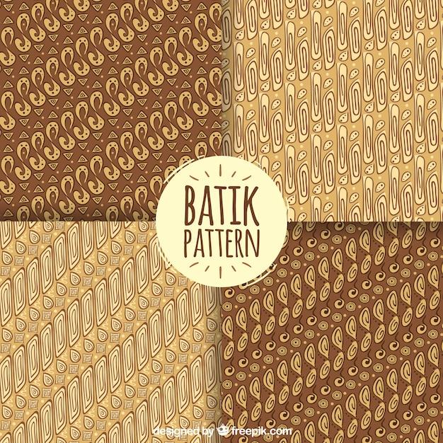 Jogo de testes padrões do batik em tons marrons Vetor grátis
