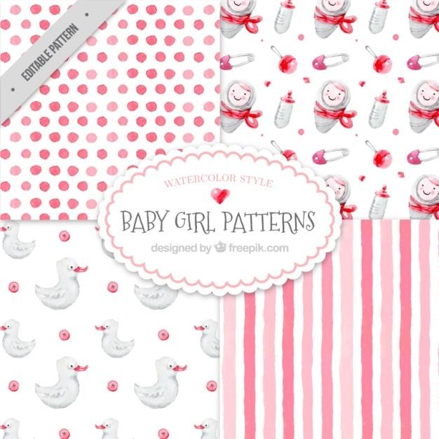 Jogo de testes padrões do bebê muito aquarela Vetor grátis