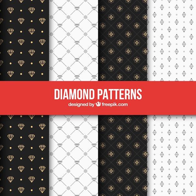 Jogo de testes padrões elegantes do diamante Vetor grátis