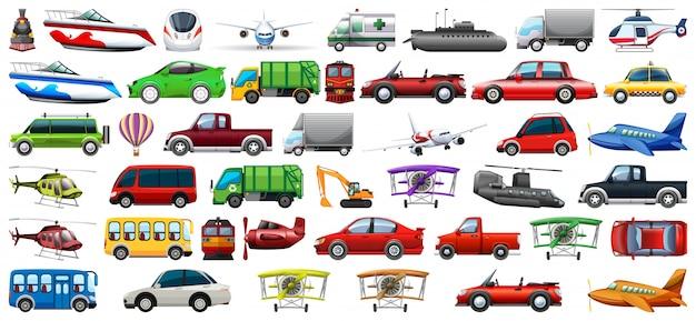 Jogo, de, transporte, veículo Vetor Premium
