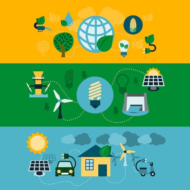 Jogo de três bandeiras com energias renováveis Vetor grátis