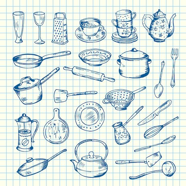 Jogo de utensílios da cozinha na ilustração da folha de pilha. faca e colher, garfo e espátula Vetor Premium