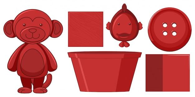 Jogo, de, vermelho, objetos Vetor grátis