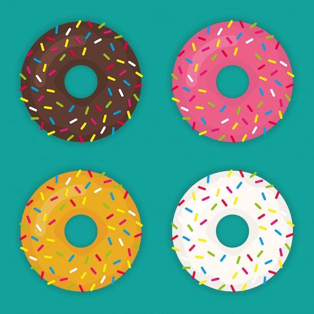 Jogo de vetores Donut num estilo plano moderno Vetor grátis