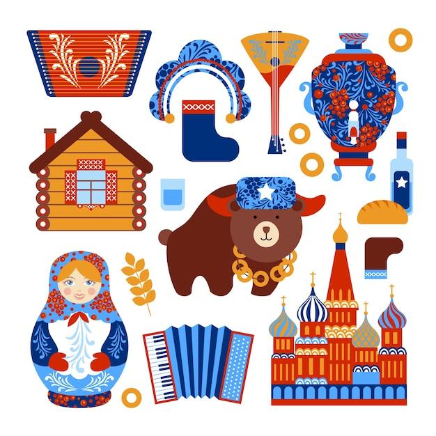 Jogo de viagens da rússia com ícones de elementos nacionais vintage conjunto ilustração vetorial isolado Vetor grátis