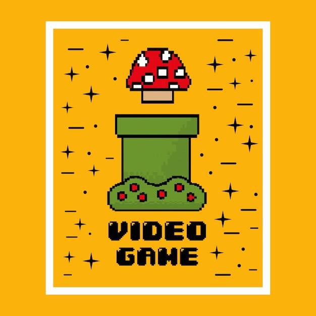 Jogo de vídeo cogumelo divertido Vetor Premium