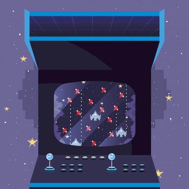 Jogo de vídeo retro ilustration Vetor Premium