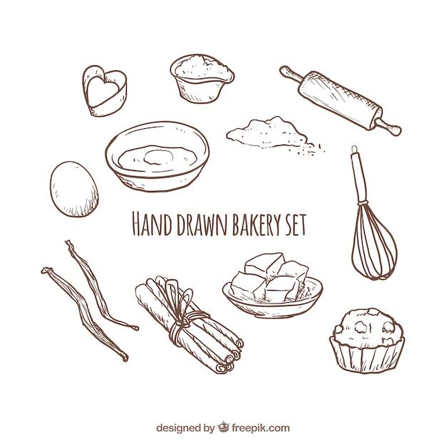 Jogo desenhado mão da padaria Vetor grátis