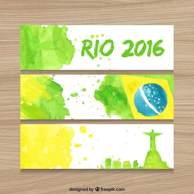 Jogo do brasil 2016 banners em efeito de aquarela Vetor grátis