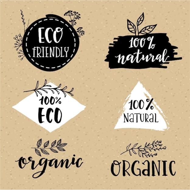 Jogo do logotipo orgânica Vetor grátis