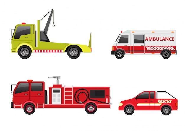 Jogo do veículo de emergência isolado no branco. Vetor Premium