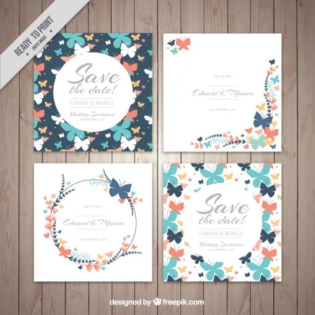 Jogo dos cartões decorativos do casamento borboletas Vetor grátis
