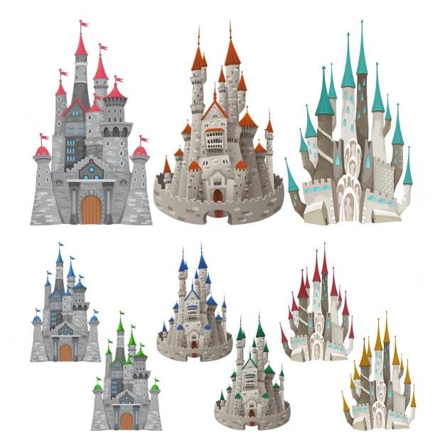 Jogo Dos Castelos Medievais Em Diferentes Cores Dos