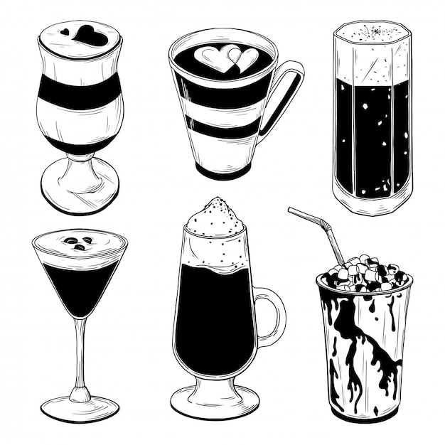 Jogo dos cocktail diferentes do café isolados no fundo branco. Vetor Premium