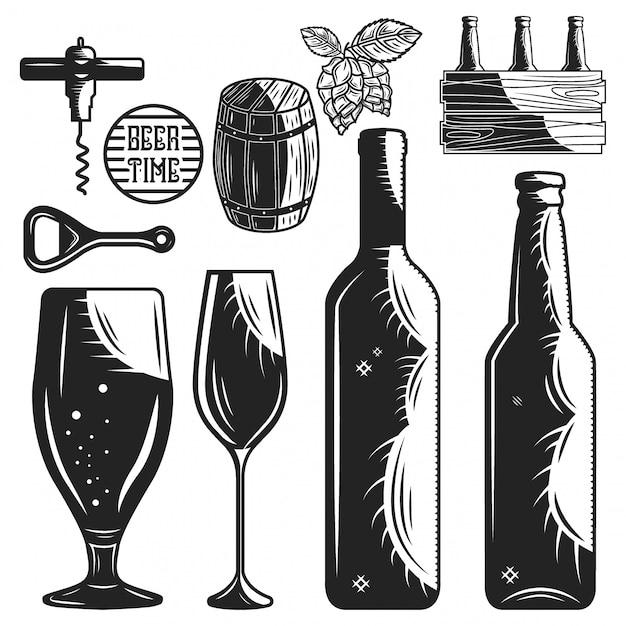 Jogo dos elementos da cervejaria e da adega isolados no branco. Vetor Premium