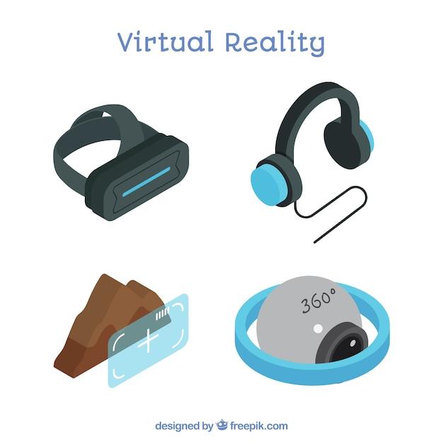 Jogo dos elementos de realidade virtual Vetor grátis