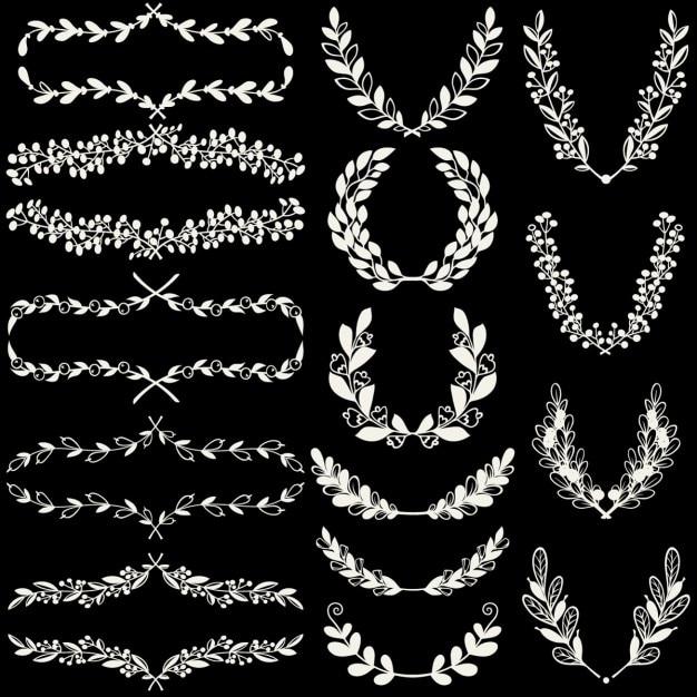 Jogo dos louros e grinaldas handdrawn e suportes florais Vetor grátis