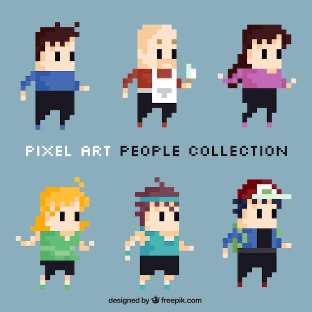 Jogo dos personagens de pixelated bonito Vetor Premium